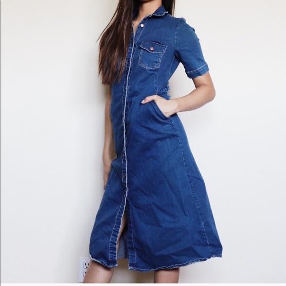 867025be Zara Dresses | Blue Denim Button Down Midi Dress | Poshmark